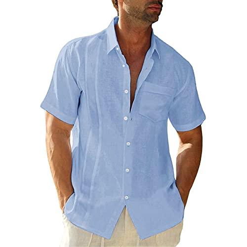 Soolike Camisa Hawaiana Hombre Lino Manga Corta, Camisa de Verano para Hombre Camiseta de Algodón y Lino para Hombre, Camisa Casual con Bolsillo en el Pecho, Regular Fit.