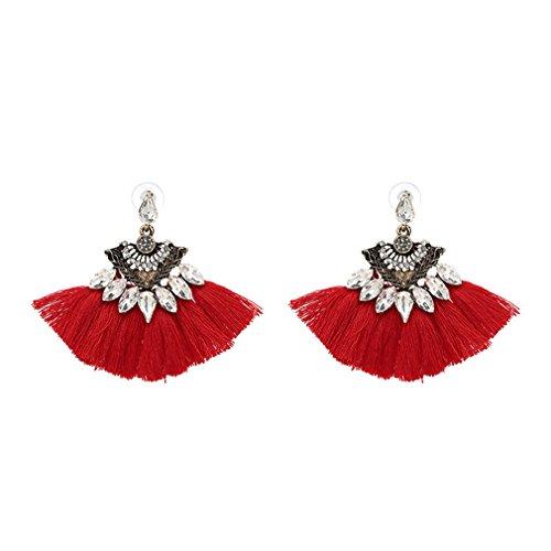 Vintage Fringing Drop Earrings Fashion NEW Brand Boho Maxi Luxury Dangle Tassel Earrings For Women Jewelry Red