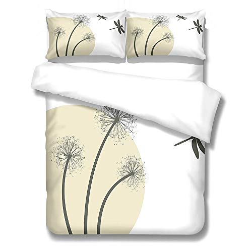 Duvet Cover and Pillowcases Bedding Set with 2 Pillowcases 3D Printed Bedding Set with Zipper Closure 1 Pieces Hypoallergenic Soft Microfiber Duvet Cover - Dandelion dragonfly,Single Size 135 x 200cm