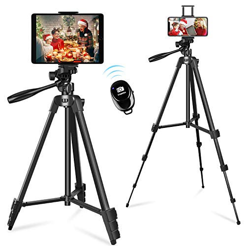 Phone & Tablet Tripod Stand, 57 inch Extendable Aluminum Travel Tripod with Smartphone/Tablet Holder, Remote Shutter, Sport Camera Adapter, Compatible with Cell Phone & Tablet & Camera