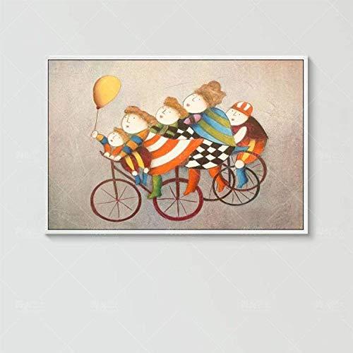 Olieverfschilderij op canvas handgeschilderd, abstract schilderen, leuke cartoon mama en kind rijden, fiets, grote moderne home decoratieve kunst voor woonkamer, hal, ingang, slaapkamer, eetkamer muur 110 x 165 cm