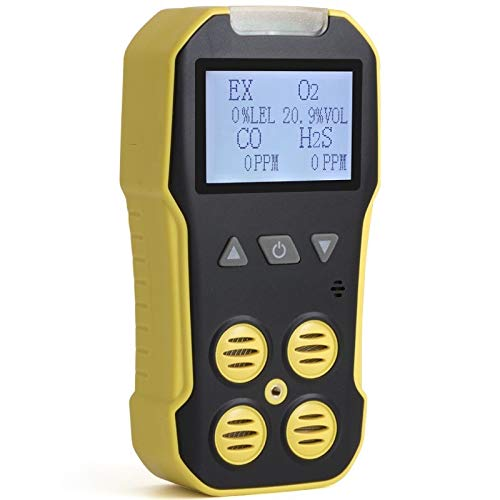Basic MULTIGAS 4 Gas Monitor by Forensics   O2, CO, H2S, LEL   USB Recharge   Sound, Light & Vibration Alarms   USA NIST Calibrated  