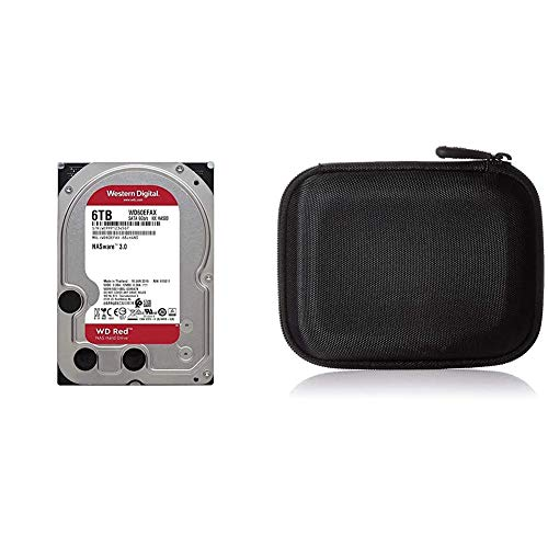 WD Elements Red 6TB Disco Duro Interno NAS 3.5' - 5400 RPM, SATA 6 GB/s, SMR, 256MB Cache – WD60EFAX + Amazon Basics - Funda para Disco Duro Externo, Color Negro, 13.2 x 10.5 x 3.8 cm