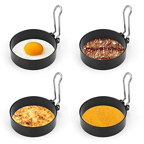yidenguk Edelstahl Ei Ring, 4 Stück Antihaft Eierringe mit Klappgriffen, 7,5 cm / 2,95 Zoll Poachette Ringe Rund Omelett Form Für Eier Kochen etc, Schwarz