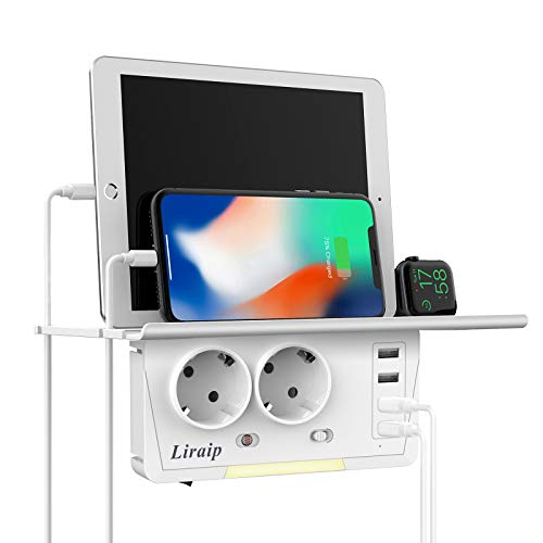 Liraip USB Steckdose, 6-in1 Steckdosenadapter Doppel steckdose(2400W/10A) mit 4 USB Anschluss (3.1A) Wandsteckdosen-Extender mit Wandregal für Haushaltsgerät, iPhone, Smartphone,Laptop