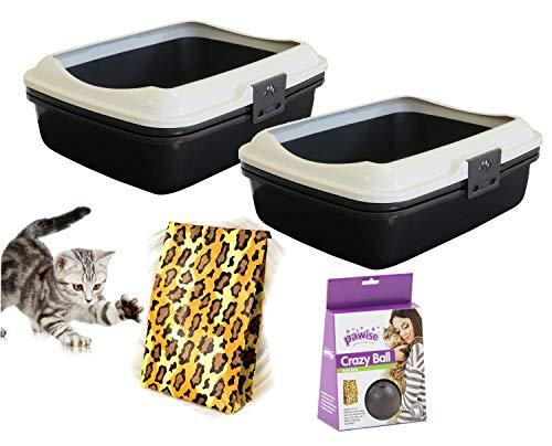 PETGARD 2er Sparpack Katzentoilette Katzenklo Denver mit eingebautem Sieb + gratis Katzenspielzeug
