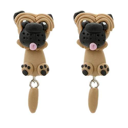 BW 1 Paar 3D Tiere Ohrringe Keramik Fuchs Hund Katze Schmuck Geschenk (#12)