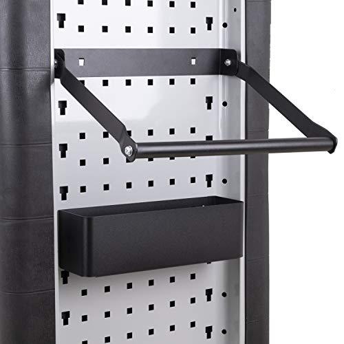 DeTec. Papierrollenhalter inkl. Ablagefach für Werkstattwagen/Lochwand