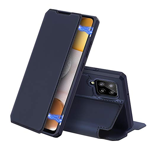 DUX DUCIS Hülle für Samsung Galaxy A42 5G, Premium Leder Magnet Klappbar Schutzhülle handyhülle für Samsung Galaxy A42 5G Tasche (Blau)