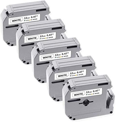 Freshworld Compatible Label Tape Replacement for P touch M Tape 12mm 0.47 Inch M-K231 MK-231 M231 M-231, for Brother Ptouch PT-M95,PT-90,PT-80,PT-65,PT-70BM,PT-85,Black on White, 26.2 Feet (8m),5-Pack
