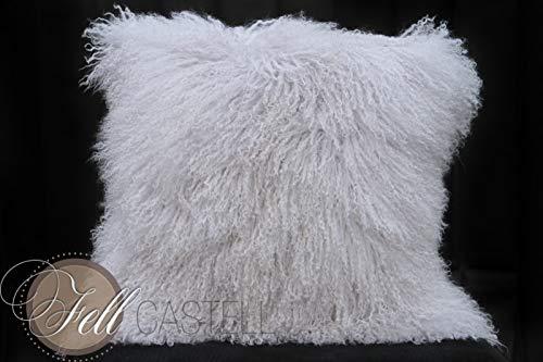Kissenbezug Tibetlammfell cool Gray 40 x 40 cm Tibet Lammfell Kissen Grau Pudergrau