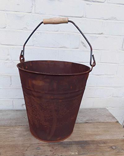 Deko-Impression Stabiler Eimer Pflanztopf Blumentopf Bottich Kübel Eisen Rost D 28 cm