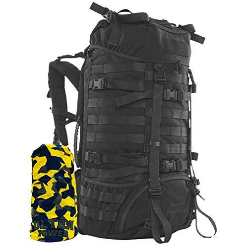 Wisport schwarzer Trekking Rucksack groß | Backpack robust schwarz I Outdoor Survival | Abenteuer | Wanderung | wandern I Camping | Ausflüge | Cordura | Raccoon 45L + Ultrapower Schlauchtuch Black