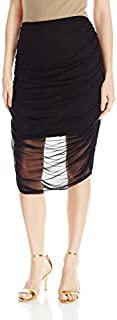 Star Vixen Women's Chiffon Rouched Midi Skirt with Short Lining