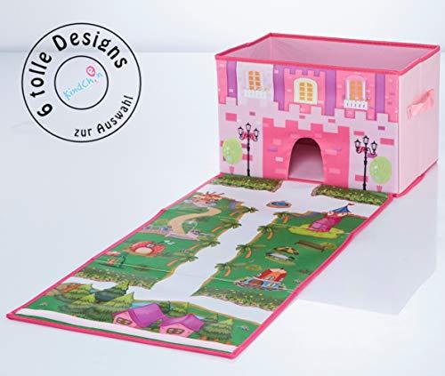 TBB-Family Kinder Aufbewahrungsbox, Spielzeugkiste, Faltkiste mit Deckel und Griffen für Spielzeug und Kinderzimmer, Prinzessin