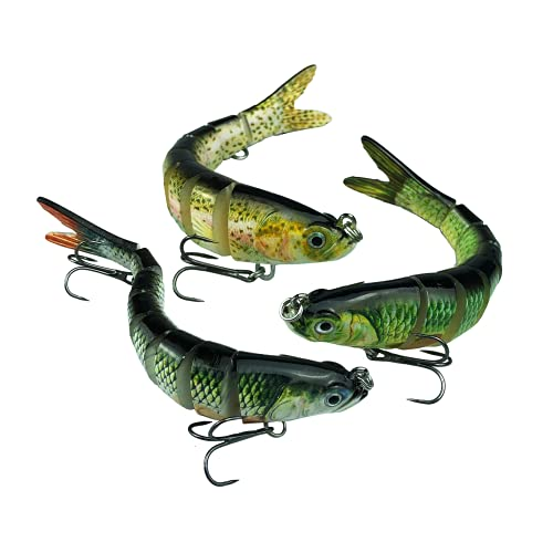 3 Pack Fishing Lures for Bass Trout Multi Jointed Swimbaits Lures Bass...