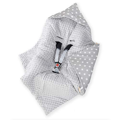 Amilian Baby Einschlagdecke, Decke, Babydecke, Fußsäck, Kuscheldecke mit Kapuze, universal für Babyschale, Autositz, Buggy Kinderwagen ca. 90x90 cm, Baumwolle, Baby Car Seat Blanket B07