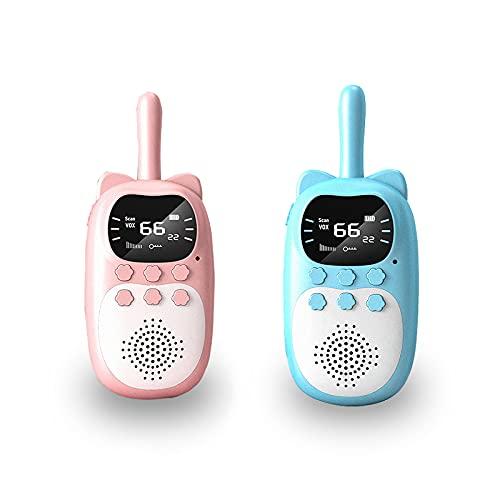 LLC Walkie-Talkie de niños, Radio de 2 vías Recargable Walkie-Talkie con Linterna, Juego de Juguetes de Regalos para niños Lindos, Adecuado para niños y niñas de 3 a 12 años.
