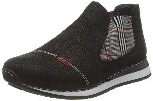 Rieker Damen N3080 Mode-Stiefel, schwarz/Pepita-rot 00, 38 EU