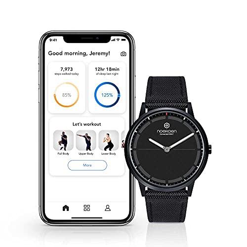 NOERDEN - Smartwatch Ibrido MATE2+ - Orologio Intelligente 5ATM Impermeabile, Cassa da 40mm, Cinturino in Pelle Nato, Batteria Dura 6 Mesi - Traccia Attività Fisica - Applicazione Mobile - Nero