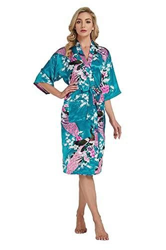 Westkun Kimono Japones Mujer Albornoz Vestido de Satén Pavo Real Novia Pijamas Largo Sexy y Elegante de Seda Bata Camisón Robe Lencería Cardigan(Azul,L)