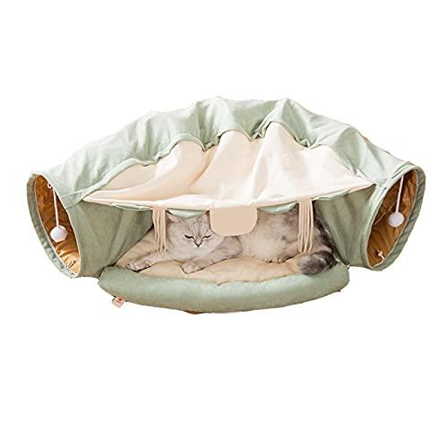 2 in 1 Katzen-Tunnelbett, zusammenklappbarer Haustier-Spielzeug-Tunnelrohr, großes Indoor-Katzen-Tunnelspielzeug, mit 2 Löchern und suspendierter Ball, für Aufbewahrungstasche Katze, Kaninchen, Hund