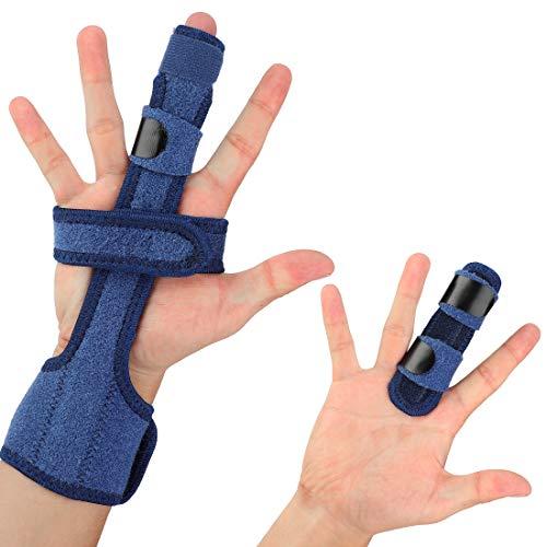 Haofy Fingerschiene Einstellbar Trigger Finger Schiene Splint mit Haken und Schlaufe Tape, Fingerstütze Fit Alle Finger mit Aluminiumstütze für Verlängerung Begradigung Arthritis Mallet Finger