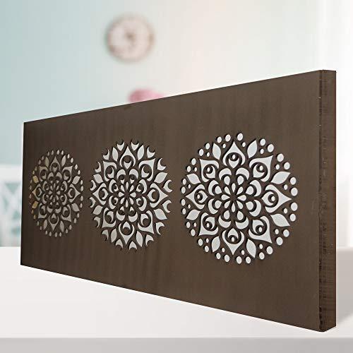 Cuadro Mandala de Pared Calada, Fabricado Artesanalmente en España, Decorado a Mano - Cuadro Decoración Modelo Mosaico 161 -para Salón, Dormitorio, Pasillo, Baño (Nogal, 60x120 cm)