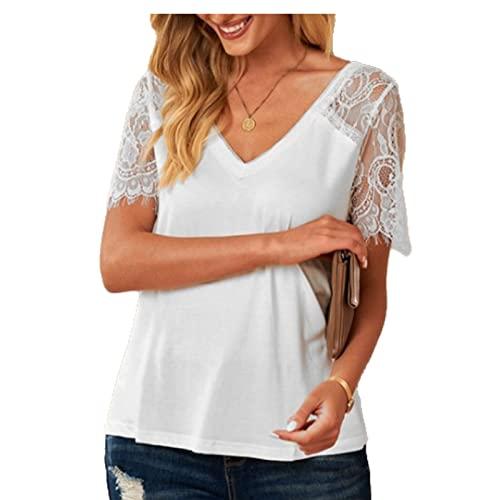Camiseta básica de Manga Corta con Cuello en V para Mujer Moda Color sólido Suelta Cómoda Tendencia Todo-fósforo Casual Pullover Top L