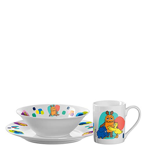 Leonardo Bambini Kinder Geschirrset Porzellan 3-teilig, spülmaschinengeeignetes Geschirr, Teller Tasse Schale, Motive Maus Ente Elefant, bunt, 018652