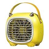 Nrew Ventilador de Aire Acondicionado portátil con Ventilador de enfriamiento de Aire Personal de 3 velocidades con Mango Amarillo 180 * 115 * 166 mm