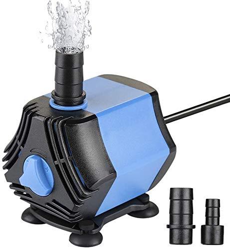 QianQi Miniatur Aquarium Pumpe 650L / H mit Abnehmbar 2 Düsen(13mm/8 mm), Teichpumpe Mini Wasserpumpe für Aquarien, Teich, Brunnen, Garten (3000L/H)