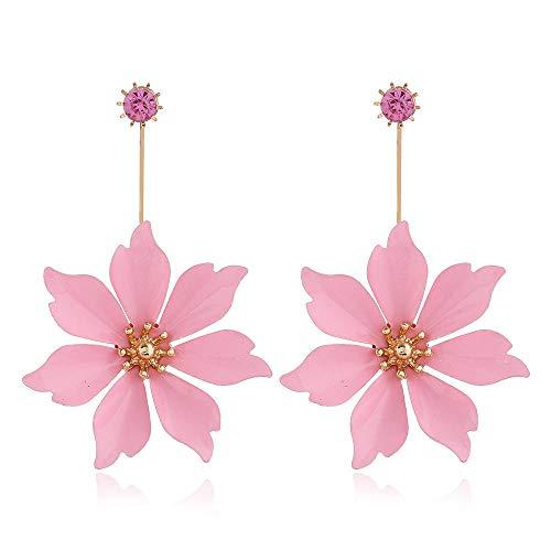 Pendientes de flores europeas y americanas Nuevo estilo largo Moda Hoja de arce Retro Pendientes grandes exagerados Pendientes-Rosa