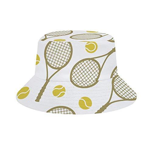 Einst Sonnenhut im Fischer-Stil, für Herren und Damen, faltbar, Strandhut mit Totenkopf Einheitsgröße Tennisschläger Bälle