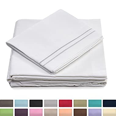 Queen Size Bed Sheets - White Luxury Sheet Set - Deep Pocket - Super Soft Hotel Bedding - Cool & Wrinkle Free - 1 Fitted, 1 Flat, 2 Pillow Cases - Queen Sheets - 4 Piece