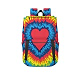 Casual Backpack, Heart Rainbow Tie-Dyed Printed School Backpack Unisex