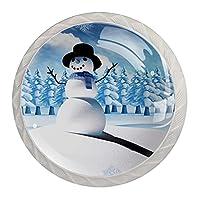 引き出しノブプルハンドル4個 クリスタルガラスのキャビネットの引き出しは食器棚のノブを引っ張る,アートクリスマス雪だるまツリー