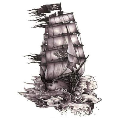 KTTO Brazo del Tatuaje Etiqueta engomada del Tatuaje Impermeable Patrón de Barco Pirata de Medio Brazo 6Pc / Set 14.8X21Cmx6Pss