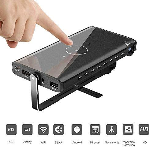 TOPQSC Mini Proyector Portátil, Reproducción HD 1080P, Soporte U Disco, Disco Duro Móvil, TF, AV, Set-Top Box, Puede Conectar un Altavoz Adicional y Alimentado por Energía Móvil (Negro)