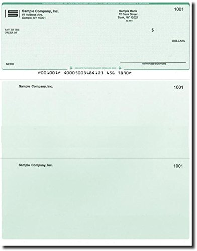 500 Printed Laser Computer Voucher Checks Compatible with Quickbooks - Green Diamond