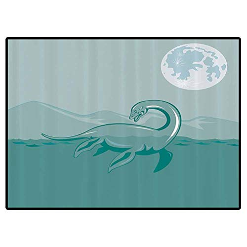 Jurassic Decor Collection Kids Carpet Loch Ness Monster Lake Sea Serpent Mountain Moon Waterscape Illustration Image Pattern Doormat for Kitchen Floor Laundry Living Room Bedroom 4x5.3 Feet