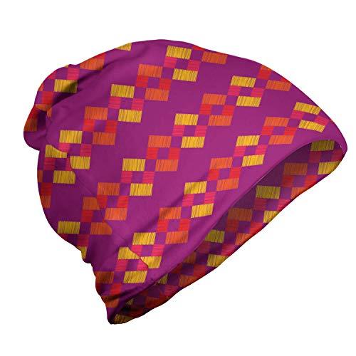 ABAKUHAUS Abstrait Bonnet Unisexe, Carrés écloses colorés, Randonnée en Extérieur, Magenta foncé Multicolor