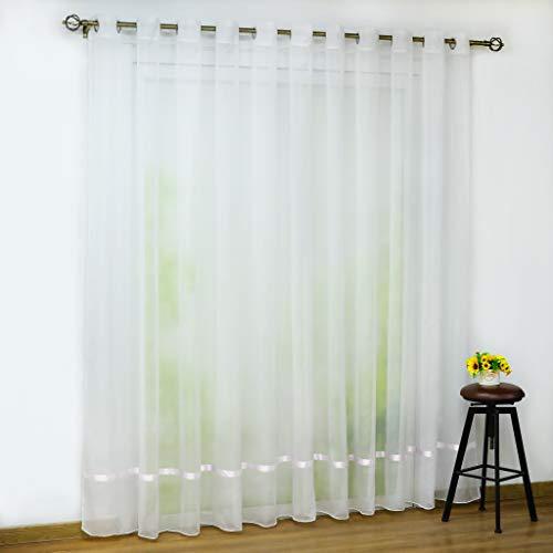 Joyswahl Voile Gardine transparenter Vorhang mit Satinband Design »Maja« Schals Fenster Vorhänge mit Ösen BxH 300x245cm Weiß 1er Pack