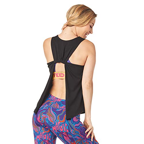 Zumba Fitness Damen Tanktops Women's Sexy Open Back Breathable Workout Tank Top, Bold Black BB, M