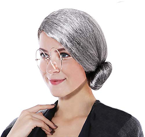 Seawhisper Oma Perücke Grau Fasching Perücke mit Brille Damen Kostüm Accessoire
