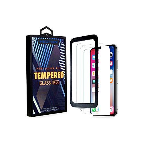 NEOTON Panzerglas Schutzfolie für iPhone X/Xs, Anti- Kratzer, Bläschenfrei,9H Festigkeit, HD-Klar, 3-Pack