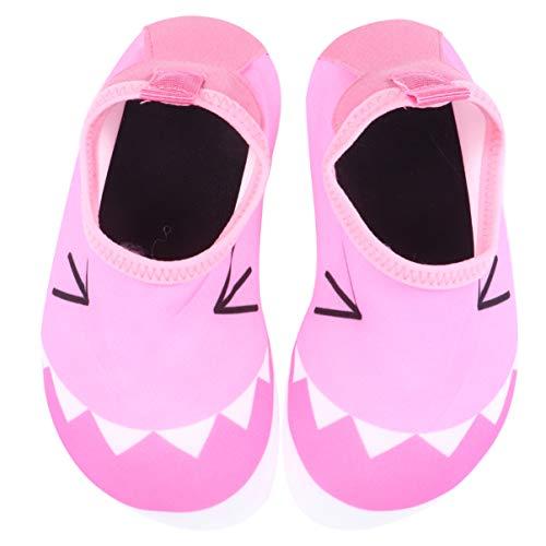 CLISPEED 1 par Sapatos de Ãgua Padrão de Boca de Tubarão Quick-Dry Beach Natação Aqua Shoes Surf Yoga Yoga Meias de Exercício Meias de Ãgua para Criança Crianças 2Us (Rosa)