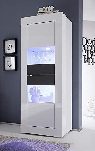 Holz, heller Lack Basic-Kabinett 2 Modern Matt-Gästezimmer-Maschenkabinett mit Glastür-Buffet-Design,White Grey