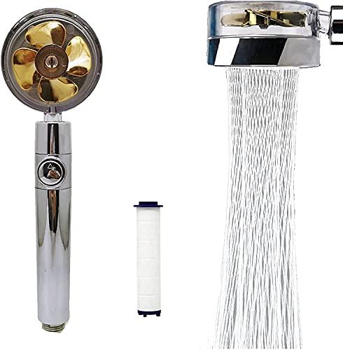 高圧シャワーヘッド、フィルター付き節水シャワーヘッド、ハンドヘルドターボチャージャー付きシャワーヘッド360度回転、ファンシャワーヘッド Gold 金