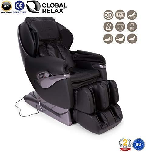 SAMSARA® 2D massagestoel - Zwart (model 2020) - Elektrische ontspanningsmassagebank met shiatsu - Fauteuil met druktherapie, gewichtloosheid, warmte en USB - 2 jaar garantie